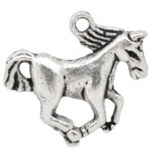 1x Paard Bedeltje Donker Zilver
