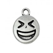 1x Bedeltje Emoticon Smile Donker Zilver