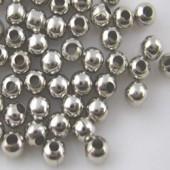 50x Metalen gladde kraal Donker zilver