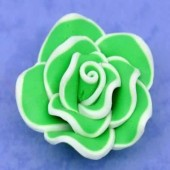 1x Fimo roos groen/wit 3 cm