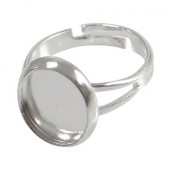 1x Licht Zilver cabochon ring