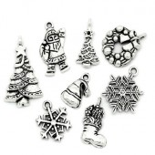 26 stuks Kerstbedeltjes Donker Zilver