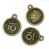 1x Bronzen Bedeltje 10 cent