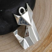 1x Bedel Kat in Origami Kat Licht zilver