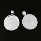 Cabochonhanger Licht Zilver 25 mm