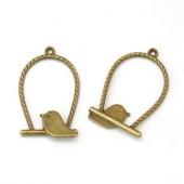 1x ring hanger met vogeltje/ brons