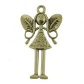 Meisje/Engel bedeltje brons