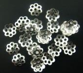 100x Kralenkapjes Lichtzilver (dun) 6 mm