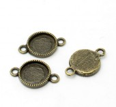 1x Cabochon setting Brons Connector