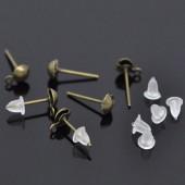 10 paar oorknopjes met oogje brons