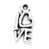 """1x Klein """"Love"""" Antiek/donker zilver bedeltje"""