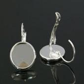 1 Paar oorbelhaakjes met plakvlak 12 mm donker zilver