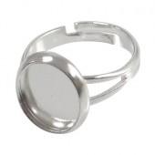 1x Licht Zilver cabochon ring
