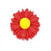 Cabochon zonnebloem rood/geel