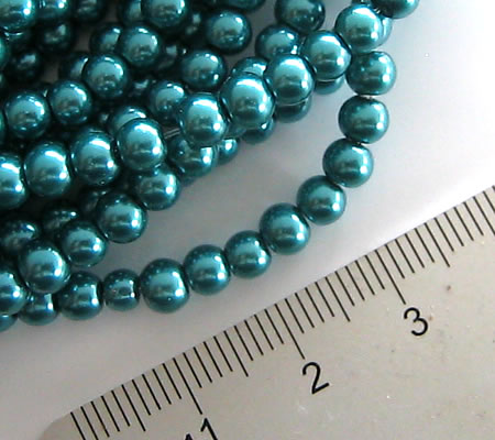 Snoertje Glasparels 4 mm Donker Turquoise