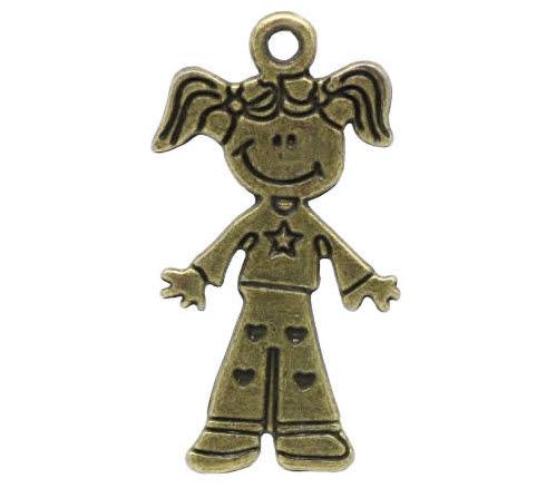 1x bronzen bedel meisje