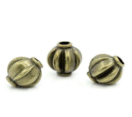 10x metalen Kraal Brons 8 mm