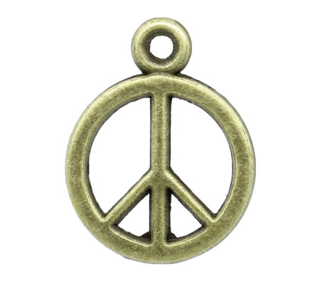 1x Peace Bedeltje Brons (klein)