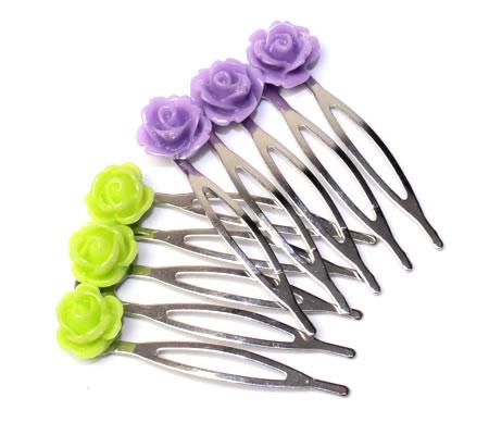 Klein haarkammetje met roosjes Lila