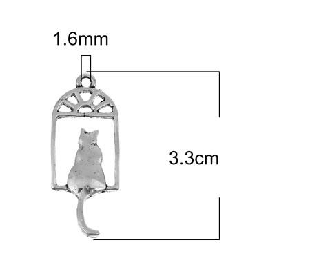 1x Bedel Kat in raam Donker Zilver