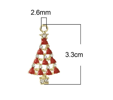 1x Bedel kerstboom Emaille Wit-Rood Goud