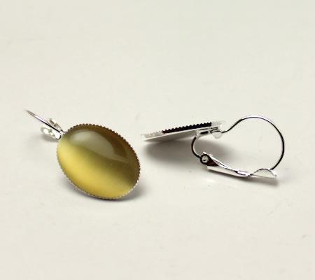 1 Paar Licht Zilveren cabochon oorbellen
