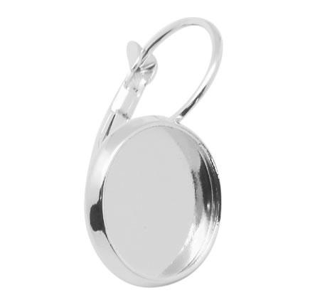 1 Paar Cabochon oorbel haakjes Donker Zilver 14 mm