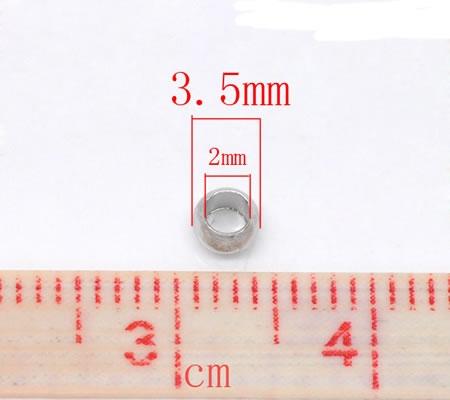 50 stuks Knijpkralen donkerzilver 3.5 mm