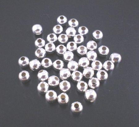 2000x Metalen gladde kraal lichtzilver