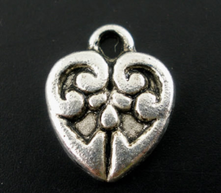 5x Bedel hartjes Donker zilver