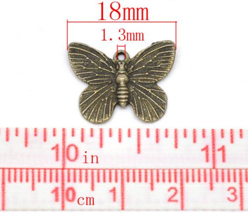 1x Bedeltje Vlinder brons