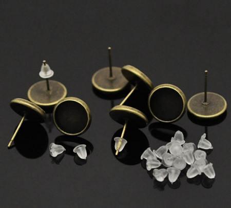 1 Paar cabochon stekertjes brons 10 mm