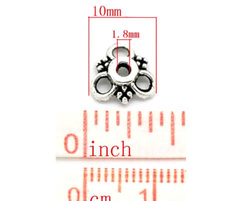 5x Kapjes Donker zilver 10 mm