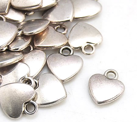 10 stuks Mini Bedeltjes Donker Zilver