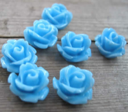 50x Cabochon Roosje Midden Blauw