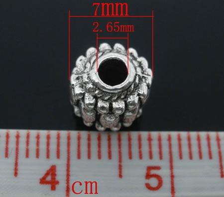 10x metalen Kraal Donker Zilver 7 mm