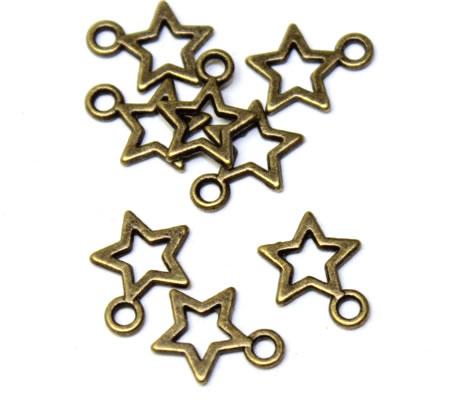 20 stuks Ster Mini Bedeltjes Brons