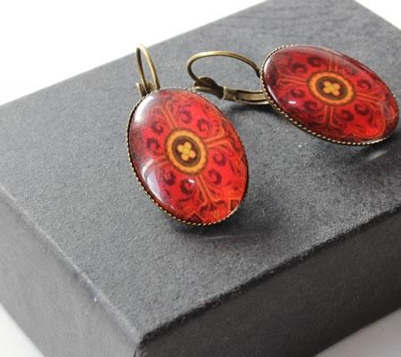 1 Paar Oorbellen Brons Rood