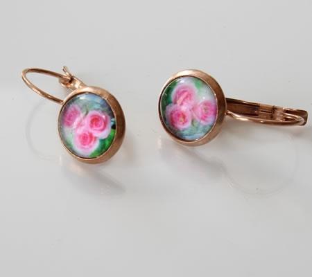 1x oorbelletjes Rosegold/roze