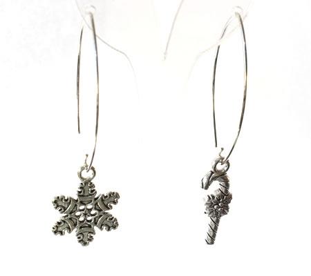 1 Paar Oorbelhaakjes Donker Zilver / Groot