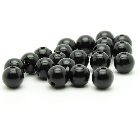 30x Glanzende Acryl kraal Zwart
