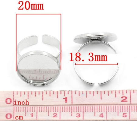 1x Donker Zilveren Cabochon Ring 18mm