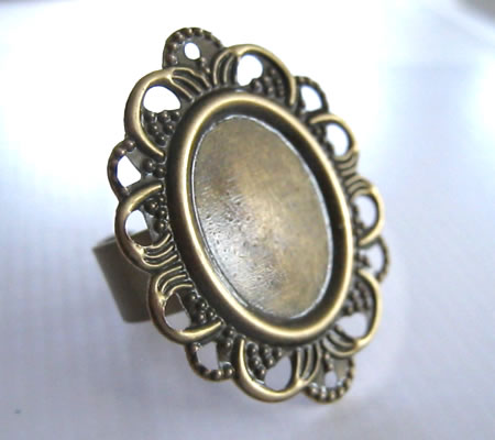 1x Cabochon Ring Brons Ovaal