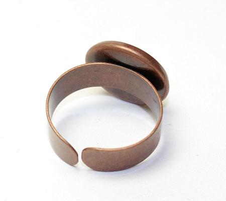 Ring Rood Koper met glazen cabochon