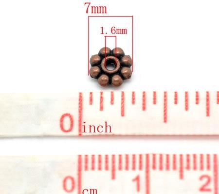 50 stuks Rondel Roodkoper 7mm