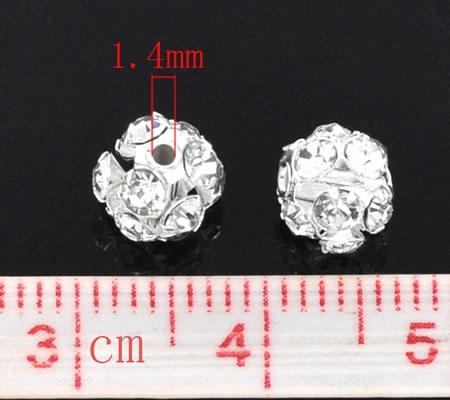 1x strass kraal 6 mm zilver/wit