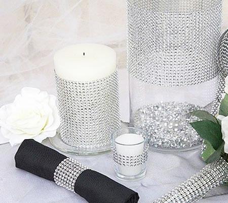 Glittermatje zilver/wit
