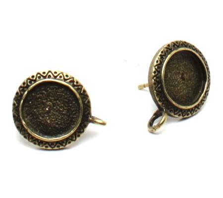 1 Paar Cabochon Stekertjes met oogje brons
