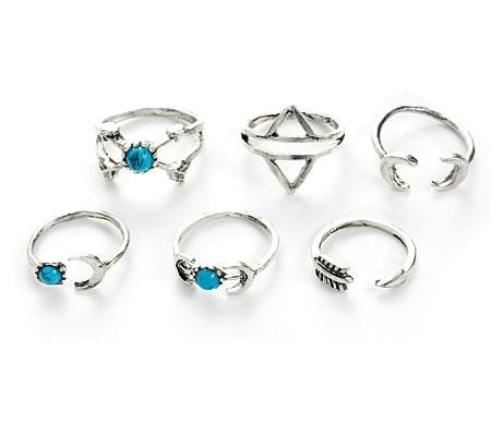 Set van 6 stuks Knuckle ringen