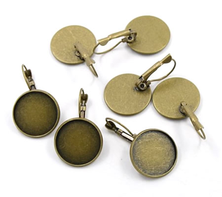 1 Paar Cabochon oorbelhaakjes Brons 18 mm